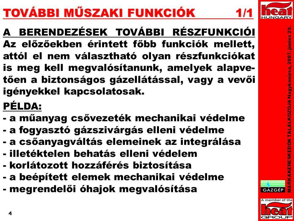 4 TOVÁBBI MŰSZAKI FUNKCIÓK 1/1 MÁRKAKERESKEDŐK TALÁLKOZÓJA Nagykanizsa, 2007.