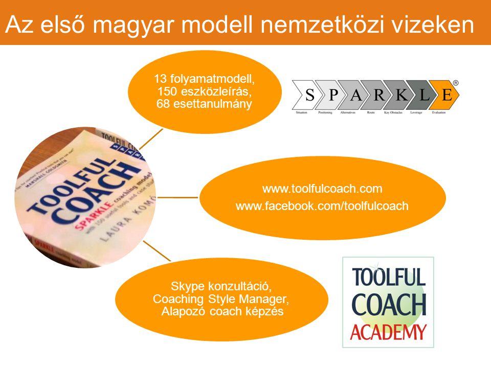 Az első magyar modell nemzetközi vizeken 13 folyamatmodell, 150 eszközleírás, 68 esettanulmány www.toolfulcoach.com www.facebook.com/toolfulcoach Skype konzultáció, Coaching Style Manager, Alapozó coach képzés