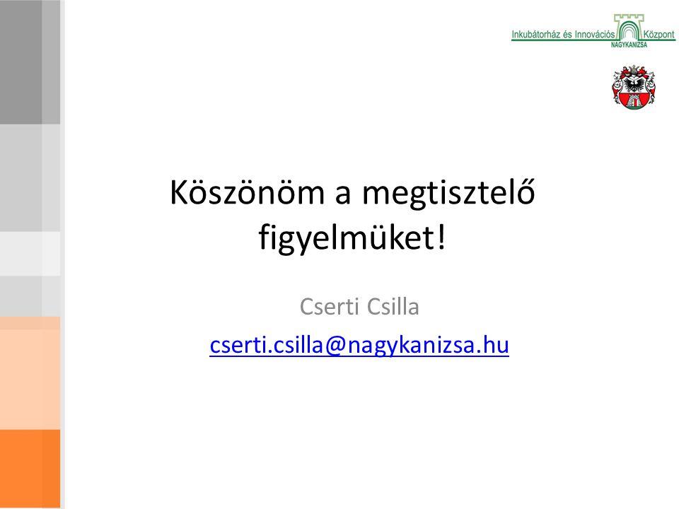 Köszönöm a megtisztelő figyelmüket! Cserti Csilla cserti.csilla@nagykanizsa.hu