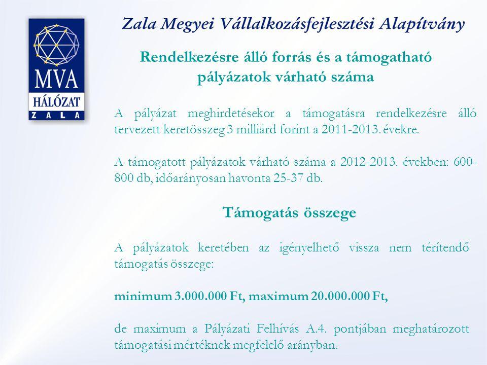 Rendelkezésre álló forrás és a támogatható pályázatok várható száma A pályázat meghirdetésekor a támogatásra rendelkezésre álló tervezett keretösszeg 3 milliárd forint a 2011-2013.