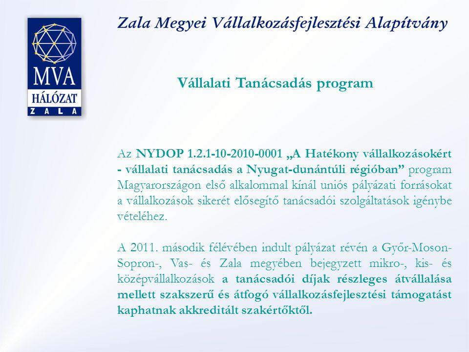 """Vállalati Tanácsadás program Az NYDOP 1.2.1-10-2010-0001 """"A Hatékony vállalkozásokért - vállalati tanácsadás a Nyugat-dunántúli régióban program Magyarországon első alkalommal kínál uniós pályázati forrásokat a vállalkozások sikerét elősegítő tanácsadói szolgáltatások igénybe vételéhez."""
