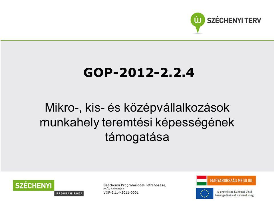 GOP-2012-2.2.4 Mikro-, kis- és középvállalkozások munkahely teremtési képességének támogatása