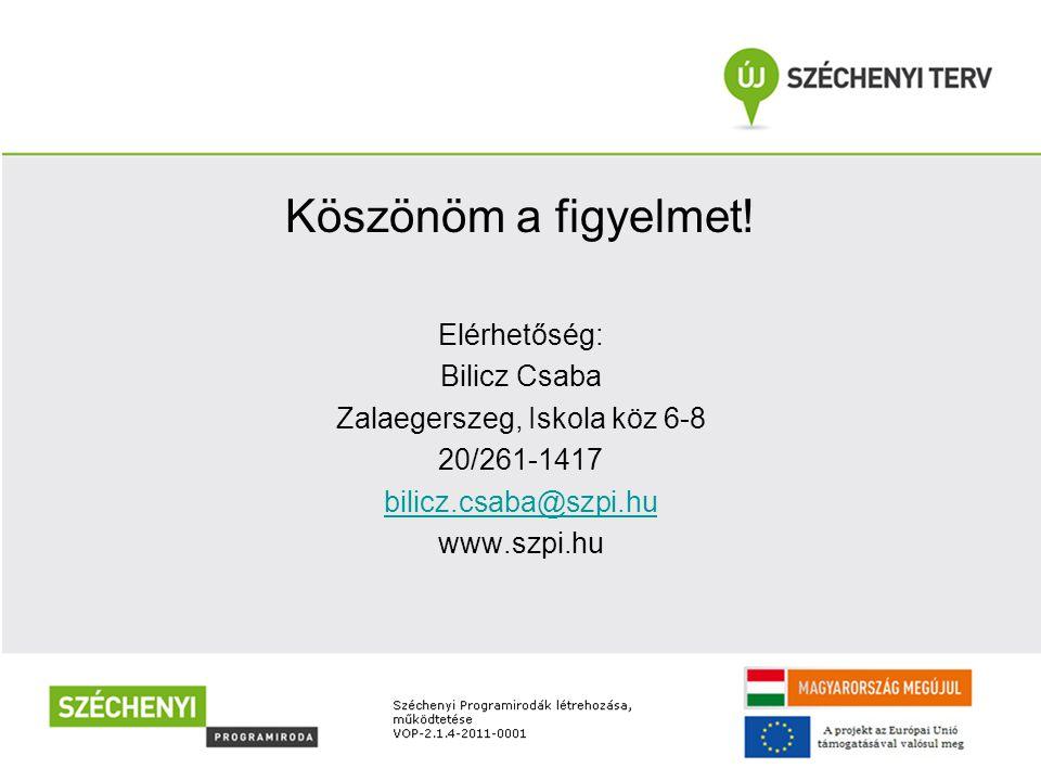 Köszönöm a figyelmet! Elérhetőség: Bilicz Csaba Zalaegerszeg, Iskola köz 6-8 20/261-1417 bilicz.csaba@szpi.hu www.szpi.hu