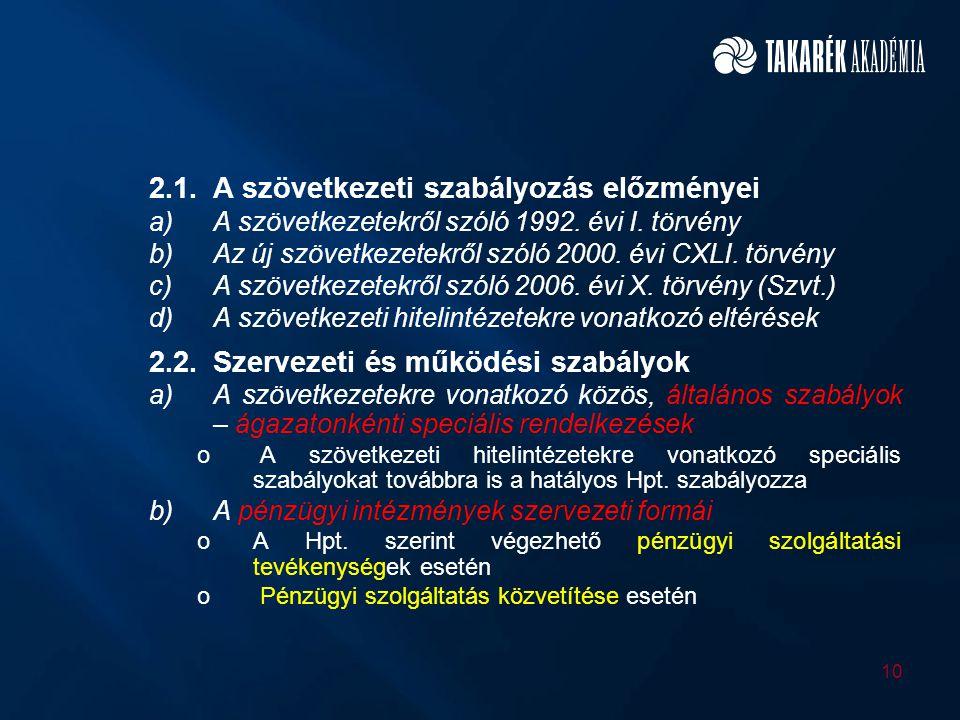 2.1.A szövetkezeti szabályozás előzményei a)A szövetkezetekről szóló 1992. évi I. törvény b)Az új szövetkezetekről szóló 2000. évi CXLI. törvény c)A s