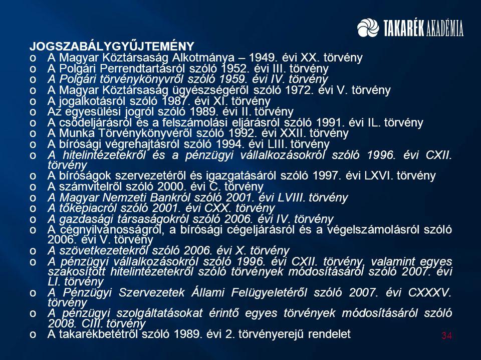 JOGSZABÁLYGYŰJTEMÉNY oA Magyar Köztársaság Alkotmánya – 1949. évi XX. törvény oA Polgári Perrendtartásról szóló 1952. évi III. törvény oA Polgári törv