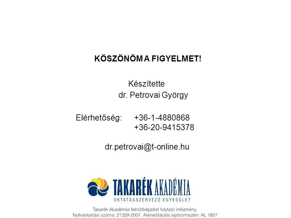 Budapest, 2009 dr. Petrovai György Készítette KÖSZÖNÖM A FIGYELMET! Elérhetőség:+36-1-4880868 +36-20-9415378 dr.petrovai@t-online.hu