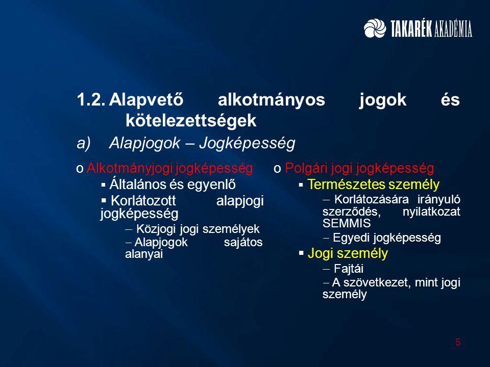 1.2.Alapvető alkotmányos jogok és kötelezettségek a)Alapjogok – Jogképesség o Alkotmányjogi jogképesség  Általános és egyenlő  Korlátozott alapjogi
