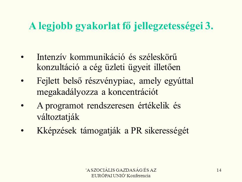 'A SZOCIÁLIS GAZDASÁG ÉS AZ EURÓPAI UNIÓ' Konferencia 14 A legjobb gyakorlat fő jellegzetességei 3. Intenzív kommunikáció és széleskörű konzultáció a