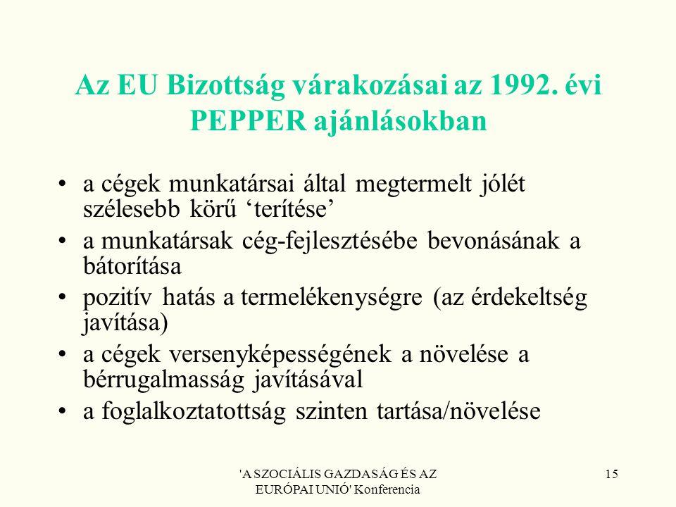 'A SZOCIÁLIS GAZDASÁG ÉS AZ EURÓPAI UNIÓ' Konferencia 15 Az EU Bizottság várakozásai az 1992. évi PEPPER ajánlásokban a cégek munkatársai által megter