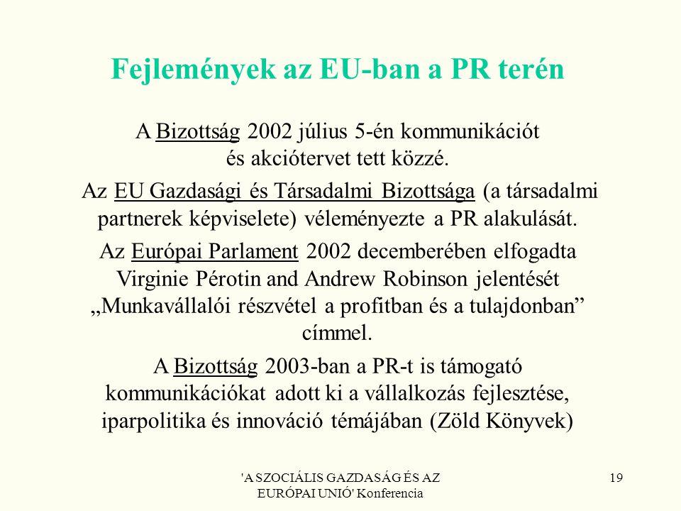 'A SZOCIÁLIS GAZDASÁG ÉS AZ EURÓPAI UNIÓ' Konferencia 19 Fejlemények az EU-ban a PR terén A Bizottság 2002 július 5-én kommunikációt és akciótervet te