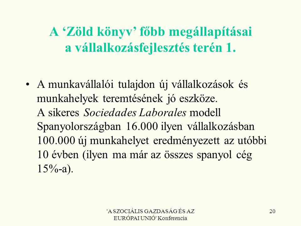 'A SZOCIÁLIS GAZDASÁG ÉS AZ EURÓPAI UNIÓ' Konferencia 20 A 'Zöld könyv' főbb megállapításai a vállalkozásfejlesztés terén 1. A munkavállalói tulajdon