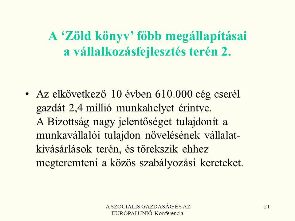A SZOCIÁLIS GAZDASÁG ÉS AZ EURÓPAI UNIÓ Konferencia 21 A 'Zöld könyv' főbb megállapításai a vállalkozásfejlesztés terén 2.
