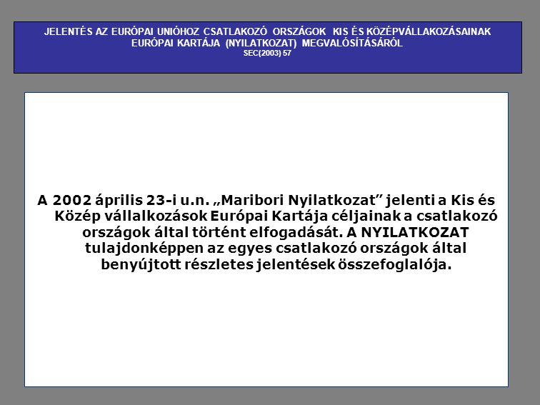 JELENTÉS AZ EURÓPAI UNIÓHOZ CSATLAKOZÓ ORSZÁGOK KIS ÉS KÖZÉPVÁLLAKOZÁSAINAK EURÓPAI KARTÁJA (NYILATKOZAT) MEGVALÓSÍTÁSÁRÓL SEC(2003) 57 A 2002 április 23-i u.n.