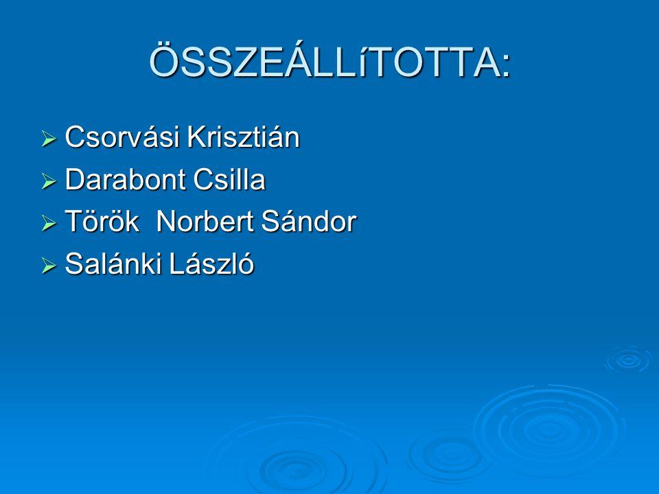 ÖSSZEÁLLíTOTTA: CCCCsorvási Krisztián DDDDarabont Csilla TTTTörök Norbert Sándor SSSSalánki László