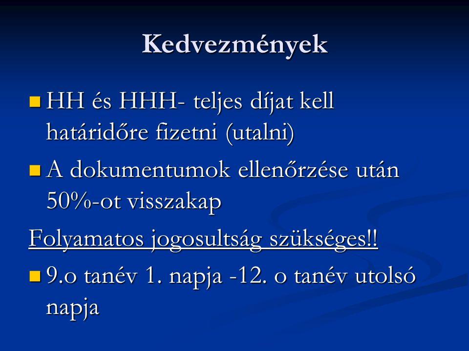 Kedvezmények HH és HHH- teljes díjat kell határidőre fizetni (utalni) HH és HHH- teljes díjat kell határidőre fizetni (utalni) A dokumentumok ellenőrzése után 50%-ot visszakap A dokumentumok ellenőrzése után 50%-ot visszakap Folyamatos jogosultság szükséges!.