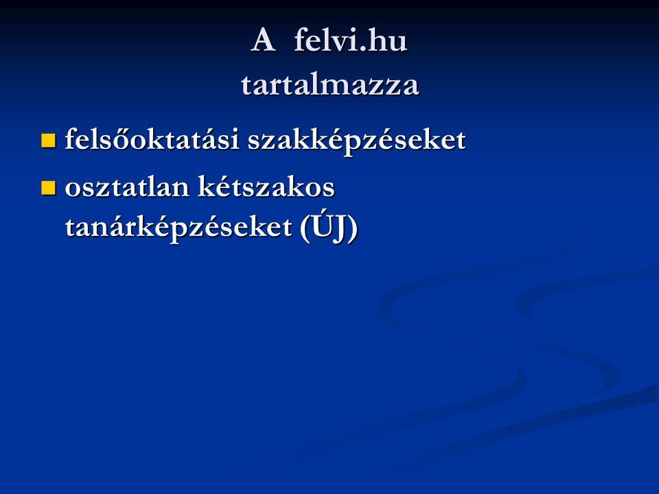 A felvi.hu tartalmazza felsőoktatási szakképzéseket felsőoktatási szakképzéseket osztatlan kétszakos tanárképzéseket (ÚJ) osztatlan kétszakos tanárképzéseket (ÚJ)