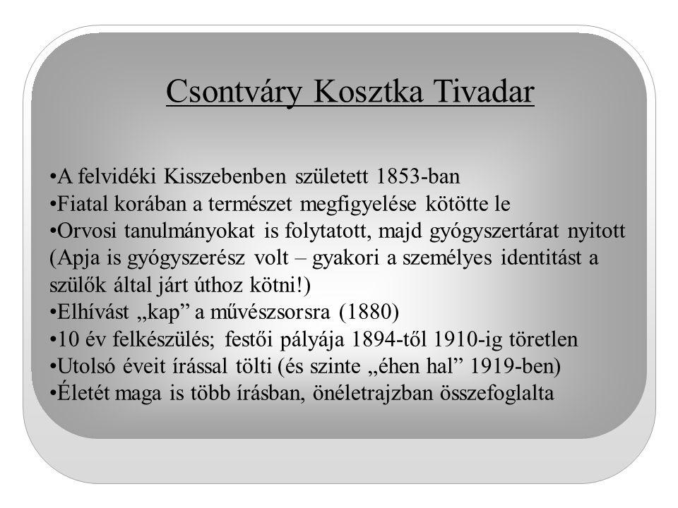 Csontváry Kosztka Tivadar A felvidéki Kisszebenben született 1853-ban Fiatal korában a természet megfigyelése kötötte le Orvosi tanulmányokat is folyt