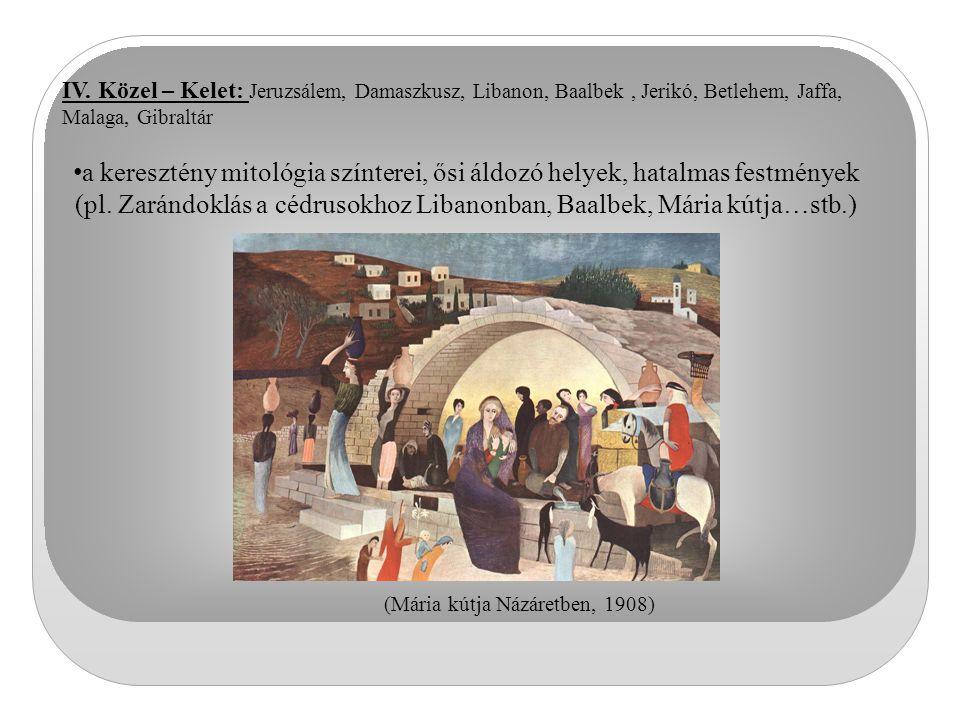 IV. Közel – Kelet: Jeruzsálem, Damaszkusz, Libanon, Baalbek, Jerikó, Betlehem, Jaffa, Malaga, Gibraltár a keresztény mitológia színterei, ősi áldozó h