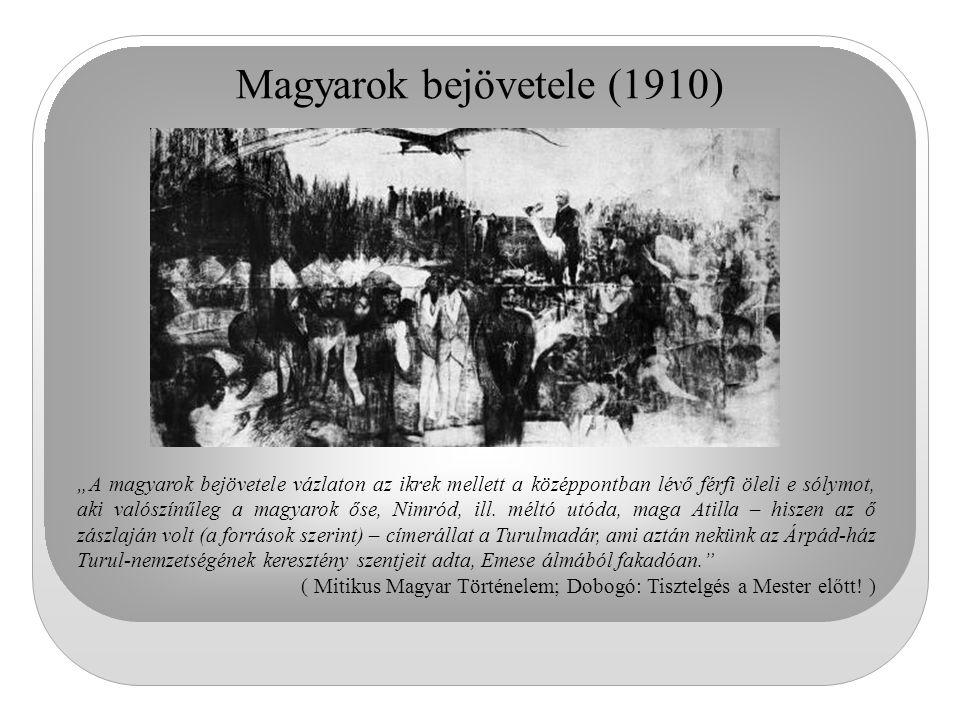 """Magyarok bejövetele (1910) """"A magyarok bejövetele vázlaton az ikrek mellett a középpontban lévő férfi öleli e sólymot, aki valószínűleg a magyarok őse"""