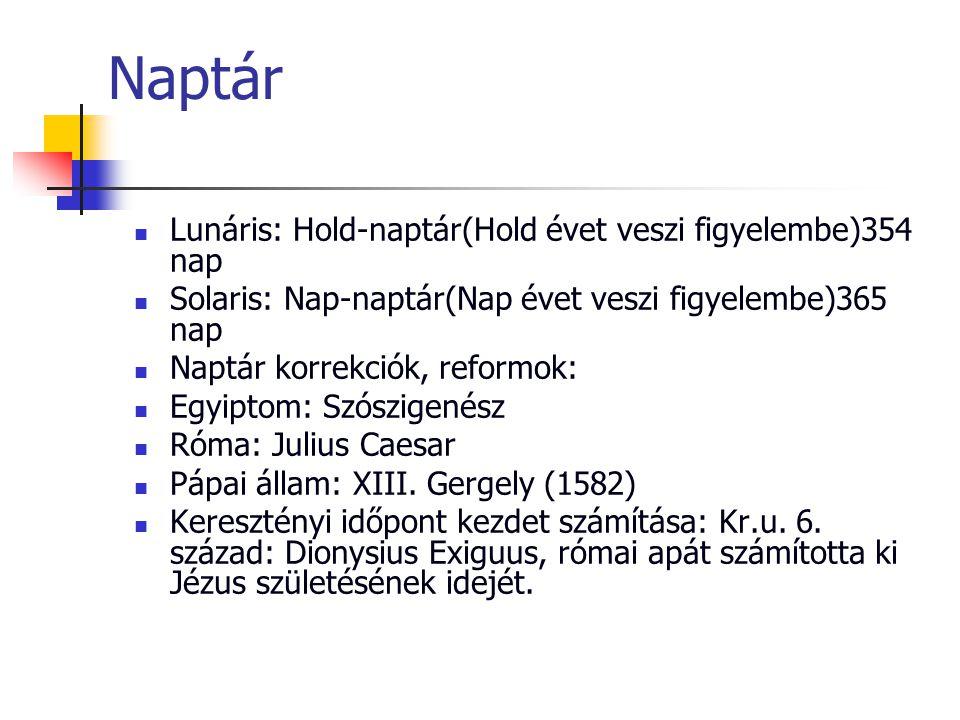 Naptár Lunáris: Hold-naptár(Hold évet veszi figyelembe)354 nap Solaris: Nap-naptár(Nap évet veszi figyelembe)365 nap Naptár korrekciók, reformok: Egyi
