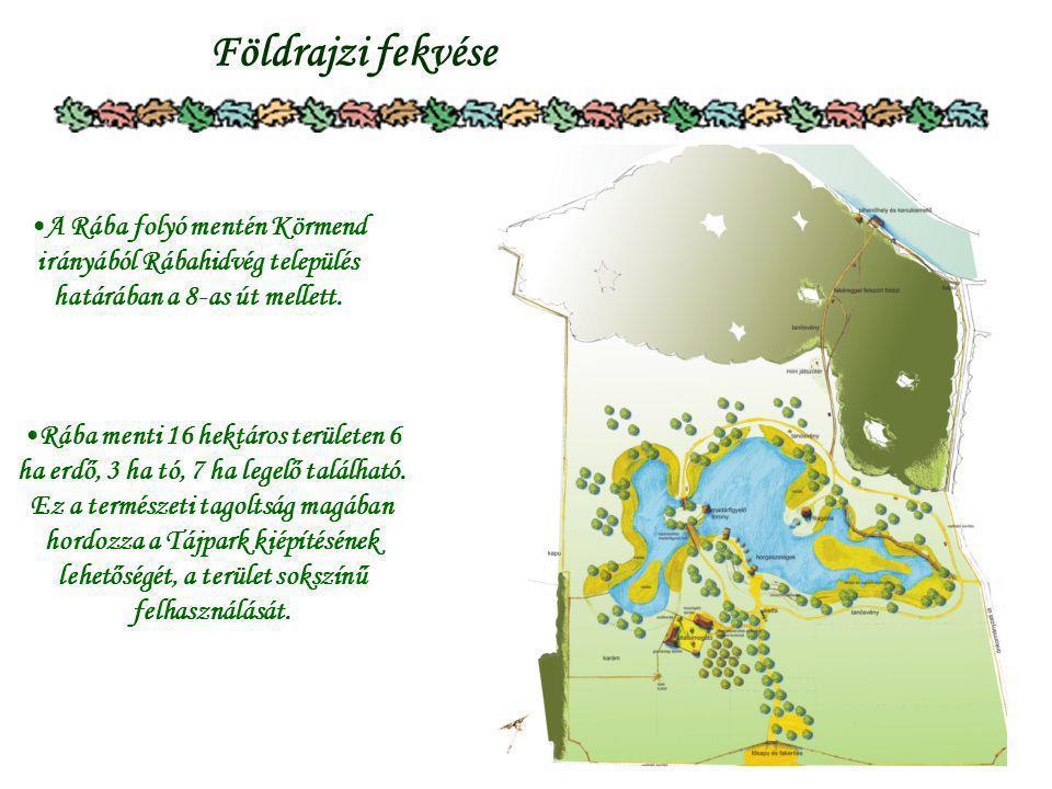 3 Földrajzi fekvése A Rába folyó mentén Körmend irányából Rábahidvég település határában a 8-as út mellett. Rába menti 16 hektáros területen 6 ha erdő