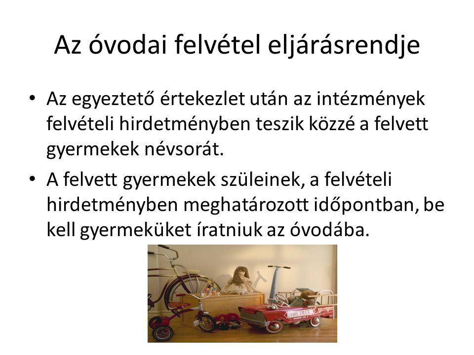 Az óvodai felvétel eljárásrendje Az egyeztető értekezlet után az intézmények felvételi hirdetményben teszik közzé a felvett gyermekek névsorát.