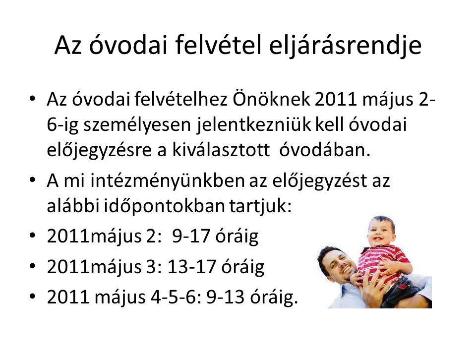 Az óvodai felvétel eljárásrendje Az óvodai felvételhez Önöknek 2011 május 2- 6-ig személyesen jelentkezniük kell óvodai előjegyzésre a kiválasztott óvodában.