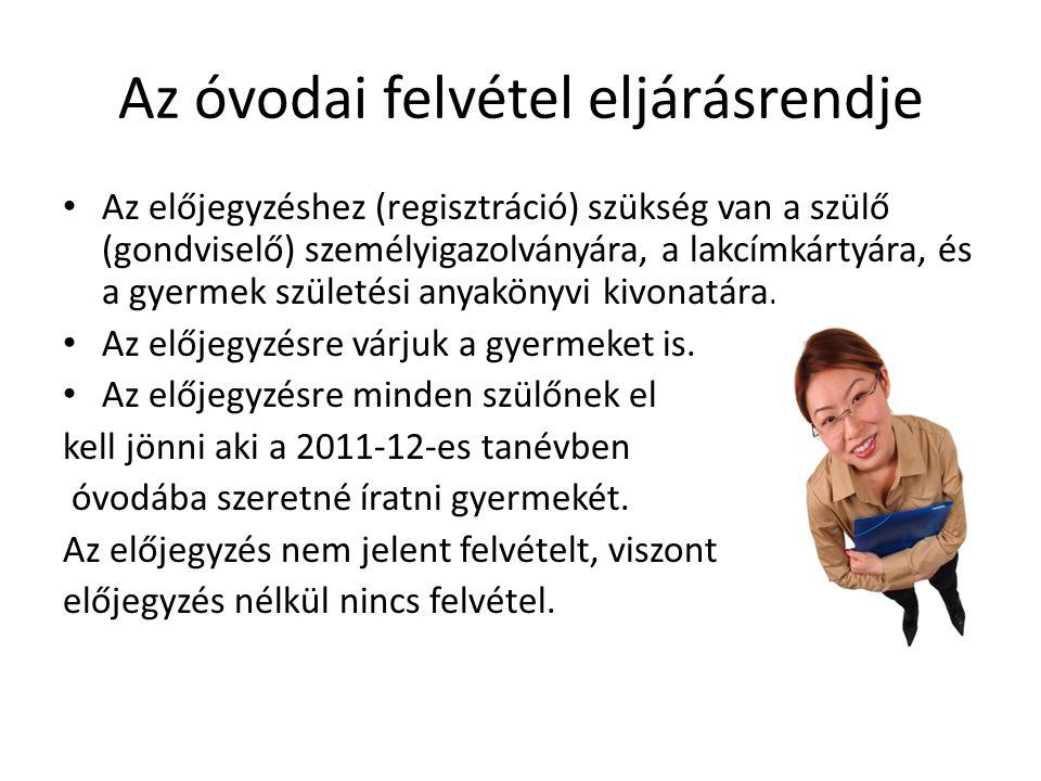 Az óvodai felvétel eljárásrendje Az előjegyzéshez (regisztráció) szükség van a szülő (gondviselő) személyigazolványára, a lakcímkártyára, és a gyermek születési anyakönyvi kivonatára.