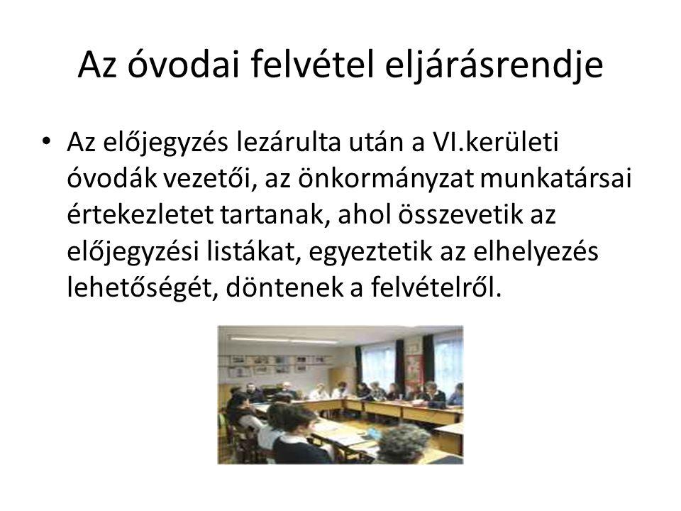 Az óvodai felvétel eljárásrendje Az előjegyzés lezárulta után a VI.kerületi óvodák vezetői, az önkormányzat munkatársai értekezletet tartanak, ahol összevetik az előjegyzési listákat, egyeztetik az elhelyezés lehetőségét, döntenek a felvételről.