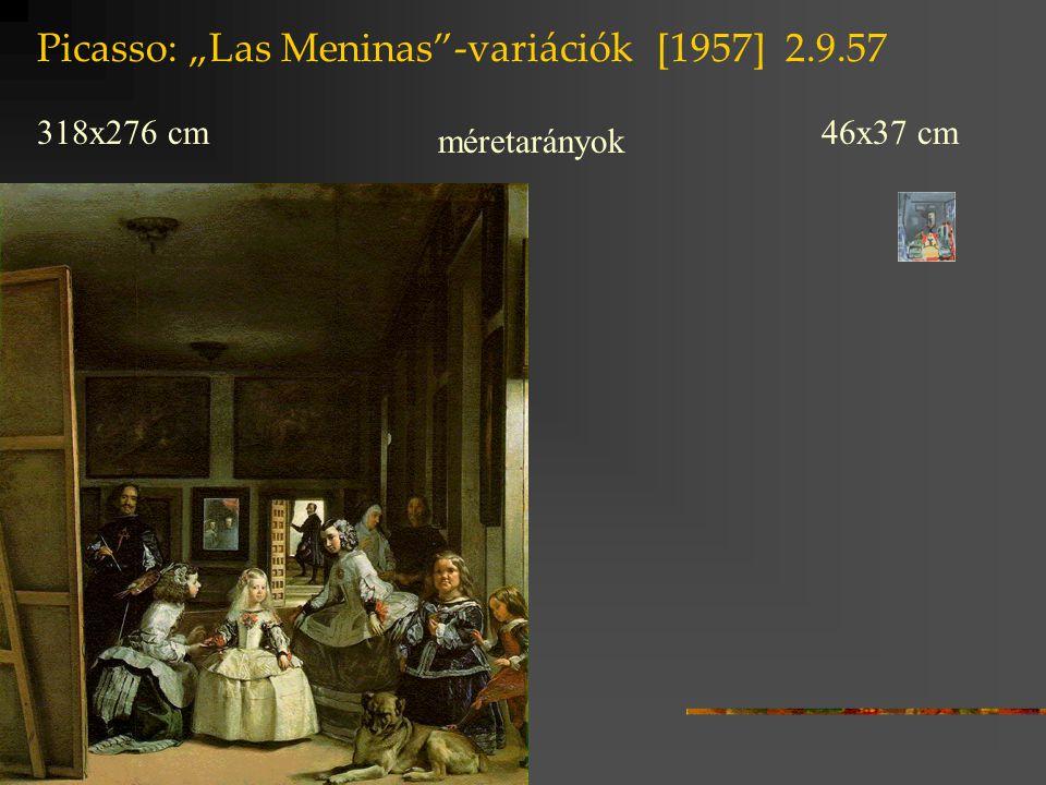 """Picasso: """"Las Meninas""""-variációk [1957] 2.9.57 318x276 cm 46x37 cm méretarányok"""