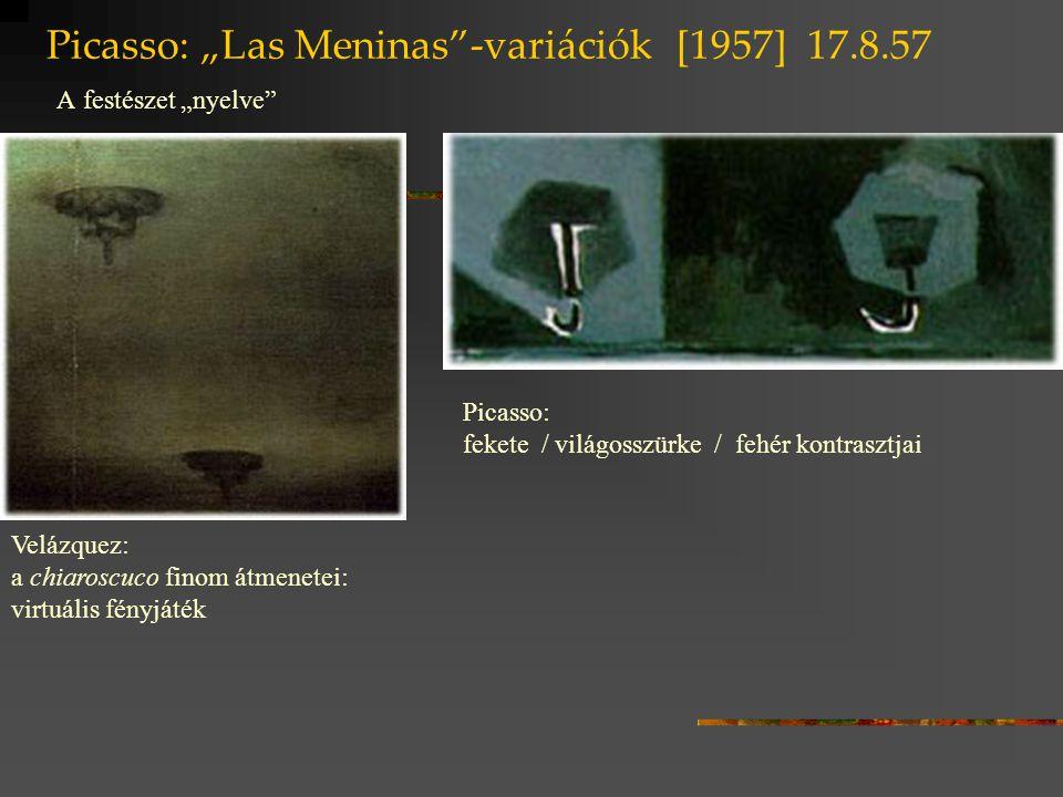 """Picasso: """"Las Meninas""""-variációk [1957] 17.8.57 A festészet """"nyelve"""" Velázquez: a chiaroscuco finom átmenetei: virtuális fényjáték Picasso: fekete / v"""