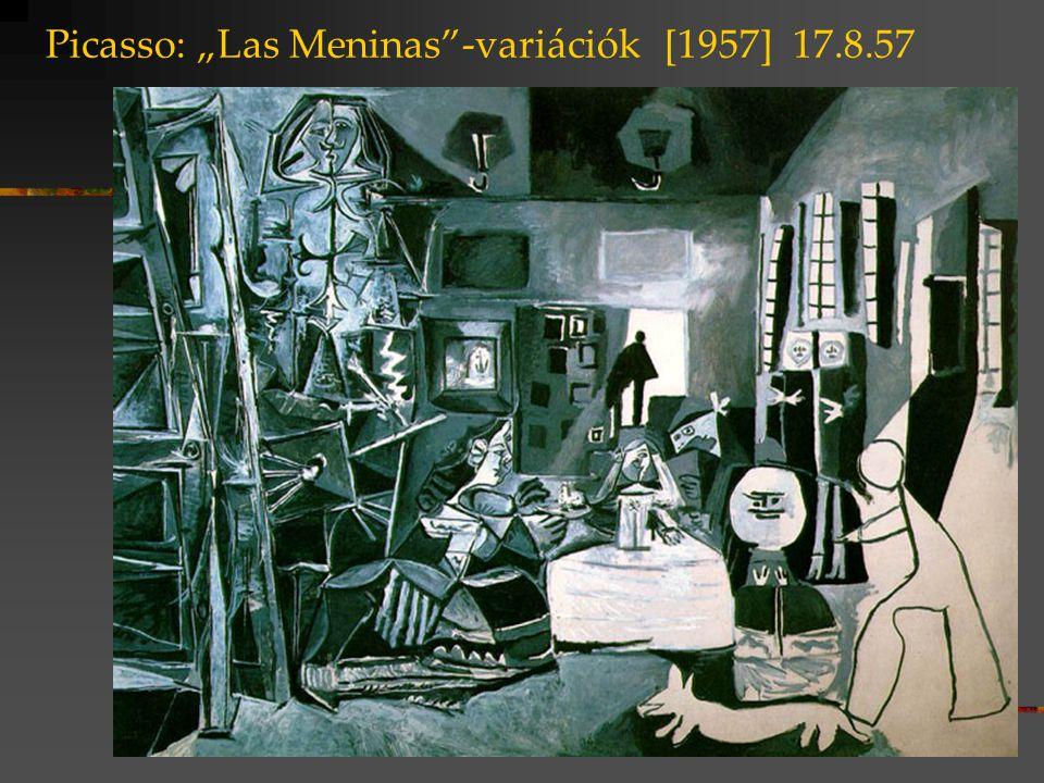 """Picasso: """"Las Meninas -variációk [1957] 2.9.57 318x276 cm 46x37 cm méretarányok"""