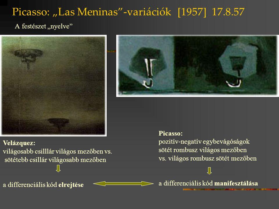 """Picasso: """"Las Meninas""""-variációk [1957] 17.8.57 A festészet """"nyelve"""" Velázquez: világosabb csilllár világos mezőben vs. sötétebb csillár világosabb me"""
