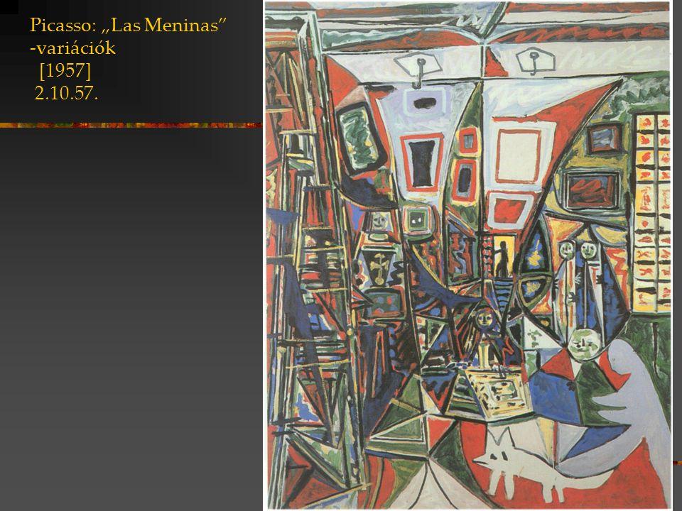 """Picasso: """"Las Meninas -variációk [1957] 17.8.57 jelenlévő jelölők távollévő jelölt fehér festék az ingujj színe cikk-cakk forma: az ingujj redőzése fekete-szürke folt a fény játéka a zubbonyon"""