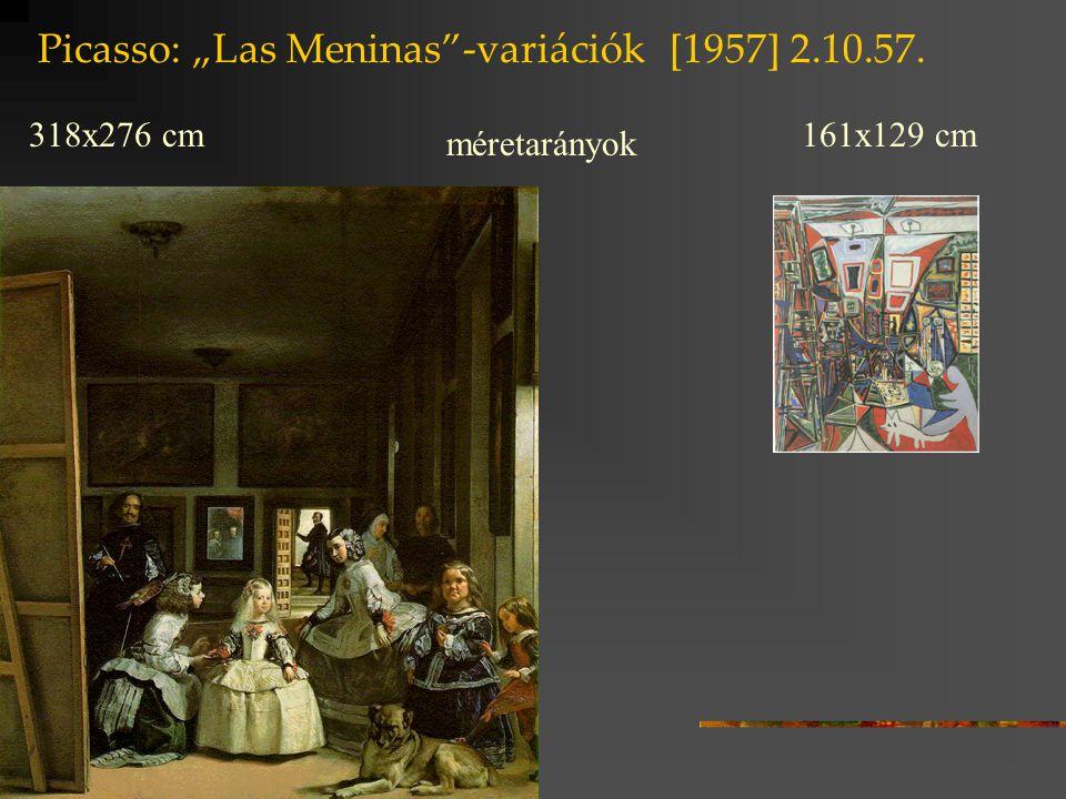 """Picasso: """"Las Meninas -variációk [1957] 17.8.57 jelenlévő jelölők távollévő jelölt fehér festék az ingujj színe V-nél cikk-cakk forma: az ingujj redőzése V-nél fekete-szürke folt a fény játéka a zubbonyon V-nél"""