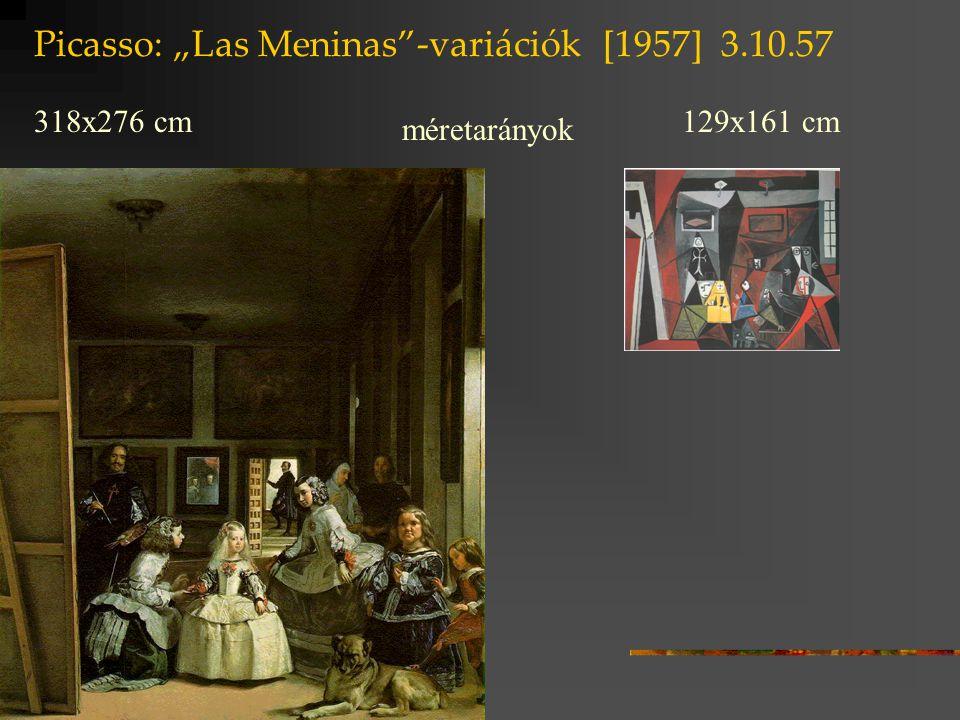 """Picasso: """"Las Meninas -variációk [1957] 17.8.57 A festészet """"nyelve Velázquez: a chiaroscuco finom átmenetei: virtuális fényjáték Picasso: fekete / világosszürke / fehér kontrasztjai"""