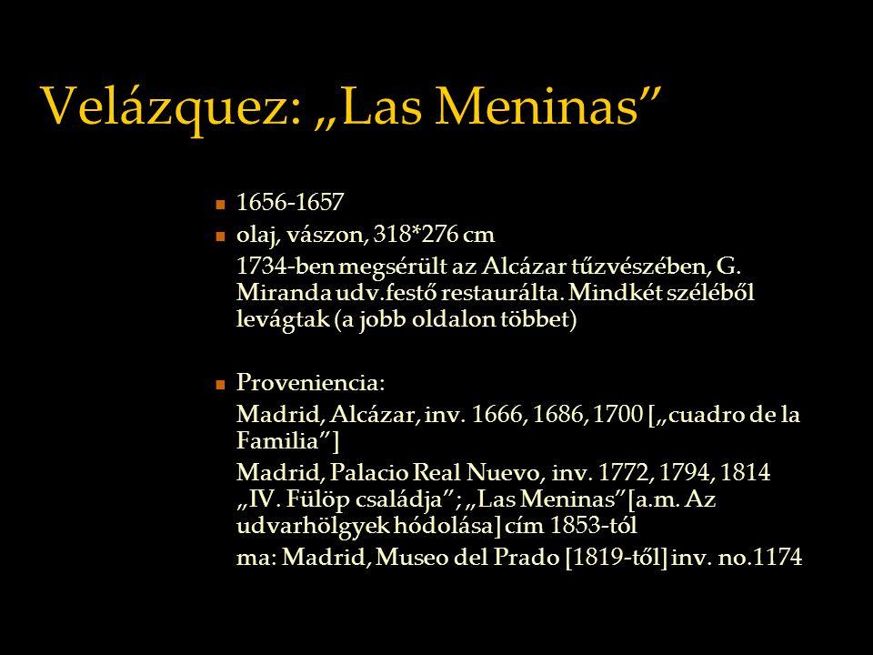 Velázquez: Las Meninas a tükörkép: nem kép, nincs magáért való léte nem reprezentáció, tiszta prezencia: jelenlét (a jelenlévő létező mechanikus és egyidejű ismétlése) nem megjelenés (a távollévő létező belépése a jelenbe, a távollét megtörténése mint dinamikus esemény)