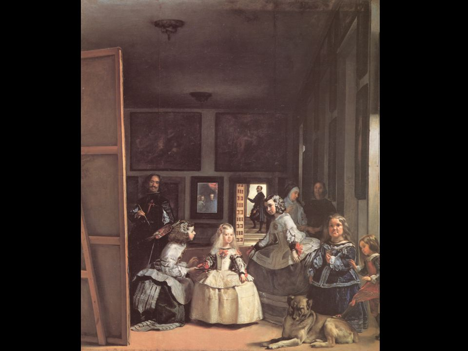 Velázquez: Las Meninas a tükörkép nem kép, nincs magáért való léte reprezentáció tiszta prezencia: megjelenés jelenlét a távollévő jelenlévő előlépése megismétlése) De a tükör: festett tükör: a reprezentáció misztériuma: az uralkodó jelenléte akkor is távollét, ha fizikailag jelen van nem a kép tartozik hozzá, hanem ő a képhez (akkor is reprezentál, ha nem akar)