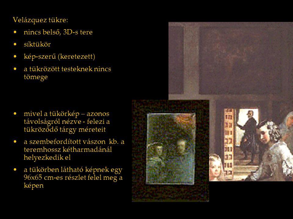 Victor I. Stoichita: Imago Regis: művészetelmélet és királyi portré ( 1986) Velázquez tükre: nincs belső, 3D-s tere síktükör kép-szerű (keretezett) a