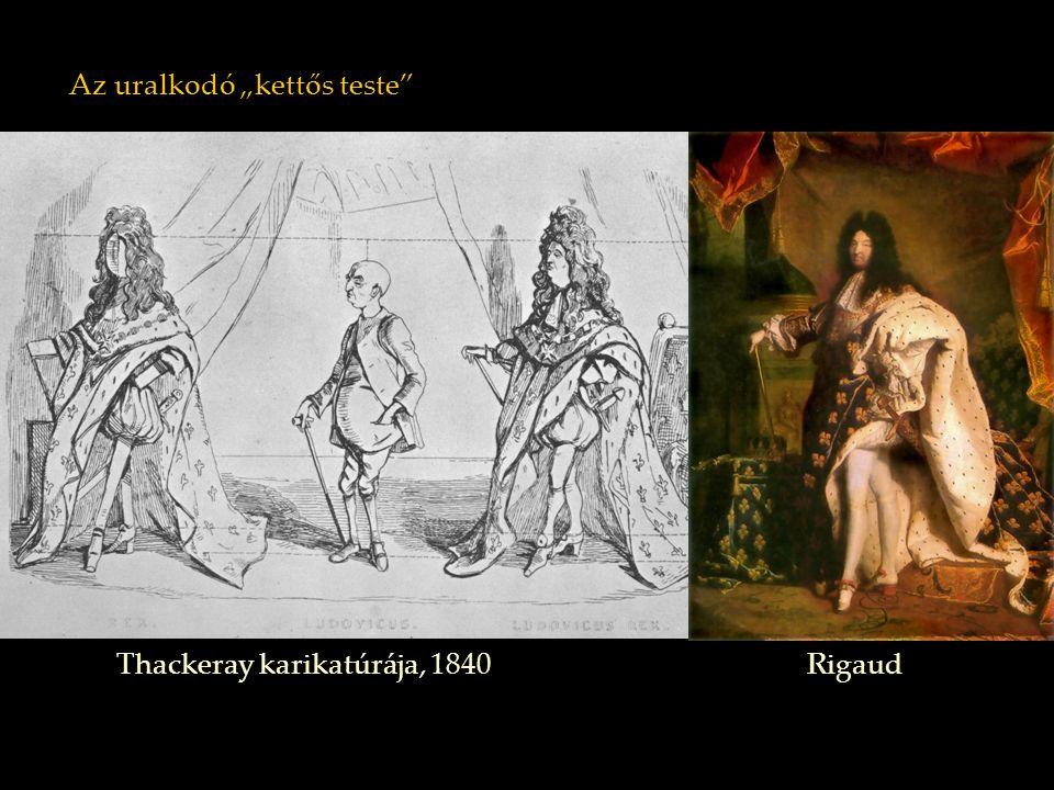 """Az uralkodó """"kettős teste"""" Thackeray karikatúrája, 1840 Rigaud"""