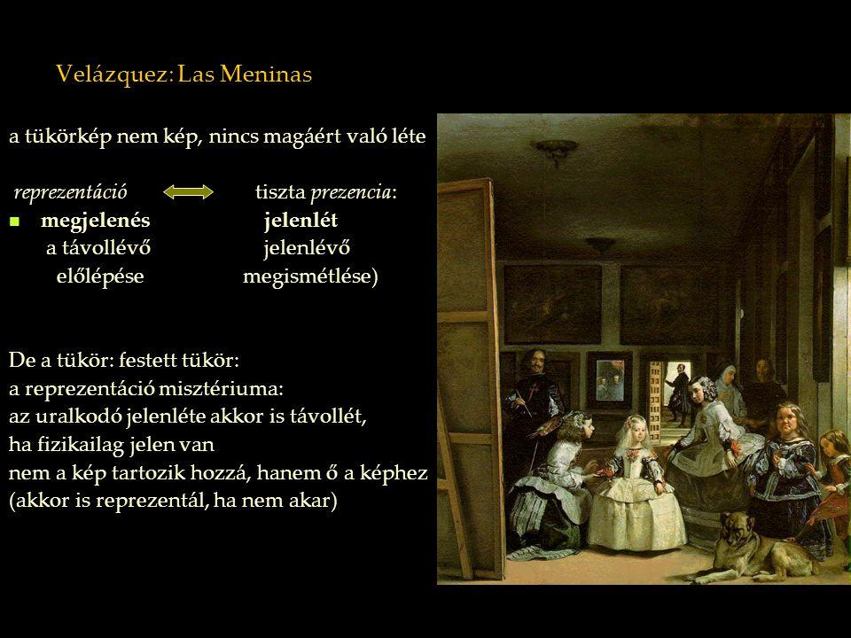 Velázquez: Las Meninas a tükörkép nem kép, nincs magáért való léte reprezentáció tiszta prezencia: megjelenés jelenlét a távollévő jelenlévő előlépése