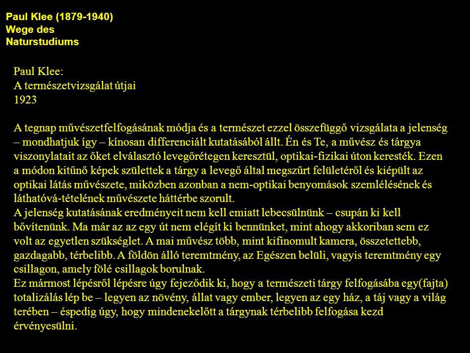 Paul Klee (1879-1940) Wege des Naturstudiums Paul Klee: A természetvizsgálat útjai 1923 A tegnap művészetfelfogásának módja és a természet ezzel összefüggő vizsgálata a jelenség – mondhatjuk így – kínosan differenciált kutatásából állt.