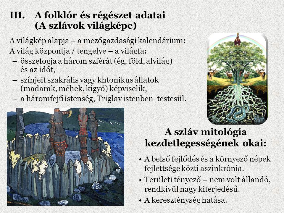 III.A folklór és régészet adatai (A szlávok világképe) A világkép alapja – a mezőgazdasági kalendárium: A világ központja / tengelye – a világfa: –öss