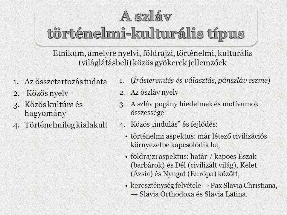 1.Az összetartozás tudata 2. Közös nyelv 3.Közös kultúra és hagyomány 4.Történelmileg kialakult 1.(Írásteremtés és választás, pánszláv eszme) 2.Az ósz