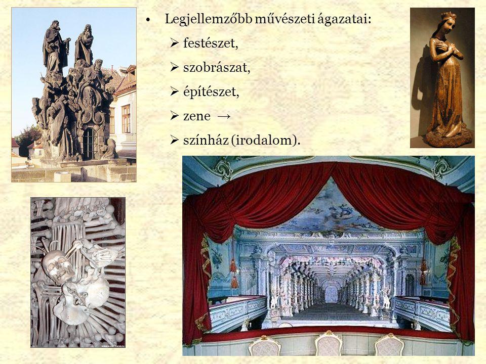 Legjellemzőbb művészeti ágazatai:  festészet,  szobrászat,  építészet,  zene →  színház (irodalom).