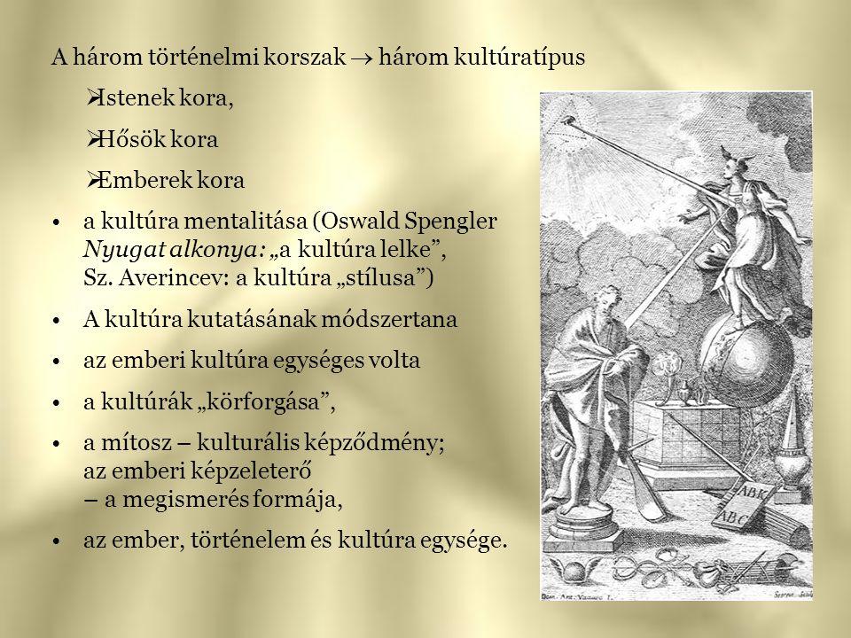 """A három történelmi korszak  három kultúratípus  Istenek kora,  Hősök kora  Emberek kora a kultúra mentalitása (Oswald Spengler Nyugat alkonya: """"a"""