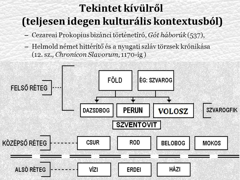 Tekintet kívülről (teljesen idegen kulturális kontextusból) –Cezareai Prokopius bizánci történetíró, Gót háborúk (537), –Helmold német hittérítő és a nyugati szláv törzsek krónikása (12.