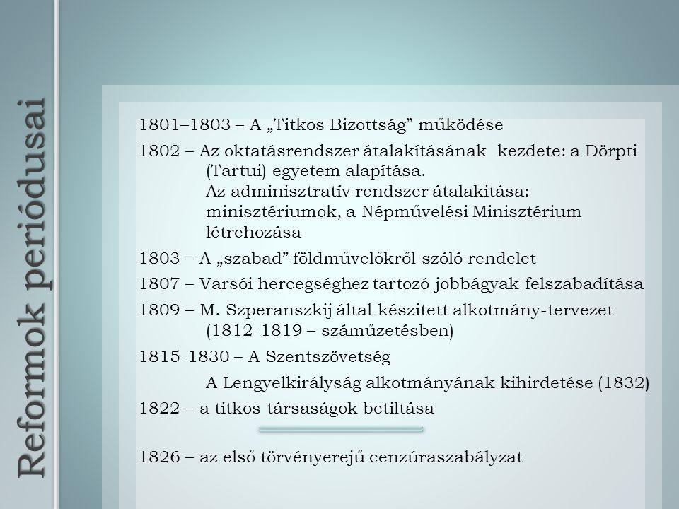 """Reformok periódusai 1801–1803 – A """"Titkos Bizottság"""" működése 1802 – Az oktatásrendszer átalakításának kezdete: a Dörpti (Tartui) egyetem alapítása. A"""