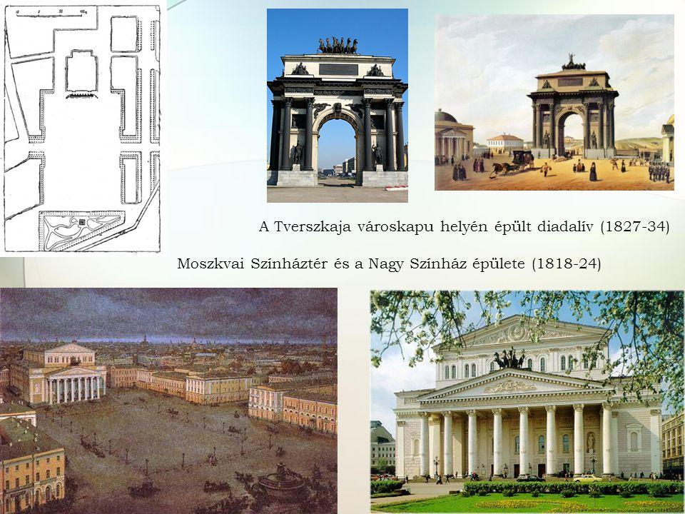 A Tverszkaja városkapu helyén épült diadalív (1827-34) Moszkvai Színháztér és a Nagy Színház épülete (1818-24)