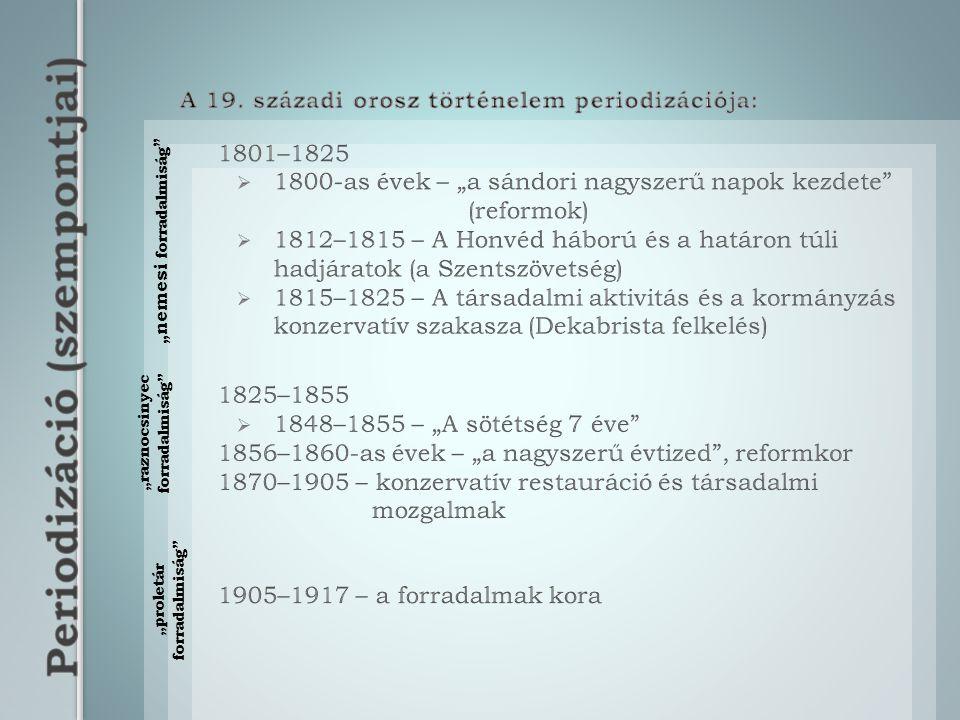 Uralkodások I. Sándor (1801-1825)I. Miklós (1825-1855)